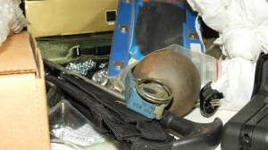 A hand grenade is shown in a handout image from the OPP.