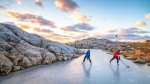 "Halifax photographer Adam Cornick says he's received a ""phenomenal"" response since he posted a photo of a pick-up hockey game set against the iconic backdrop of Peggy's Cove at sunset to his Facebook page Acorn Art & Photography on Monday. (THE CANADIAN PRESS/HO-Acorn Art & Photography)"