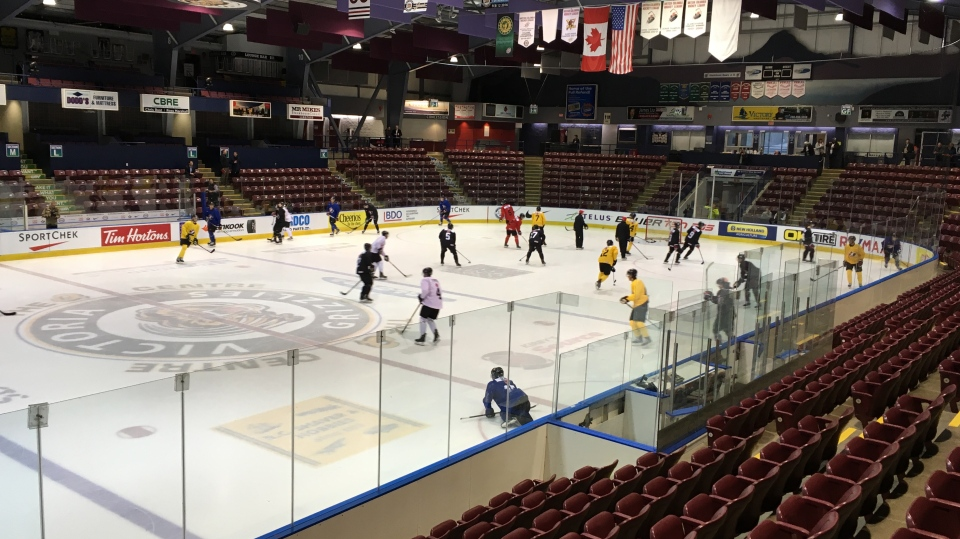 Drills are conducted at Team Canada's player selection camp, held at the Q Centre in Colwood, Tues., Dec. 11, 2018. (CTV Vancouver Island)