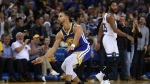 Golden State Warriors' Stephen Curry (30) celebrates a score as Minnesota Timberwolves' Derrick Rose, right, watches in the second half of an NBA basketball game, Monday, Dec. 10, 2018, in Oakland, Calif. (AP Photo/Ben Margot)