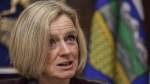 Alberta Premier Rachel Notley speaks to cabinet members in Edmonton on Monday December 3, 2018. THE CANADIAN PRESS/Jason Franson