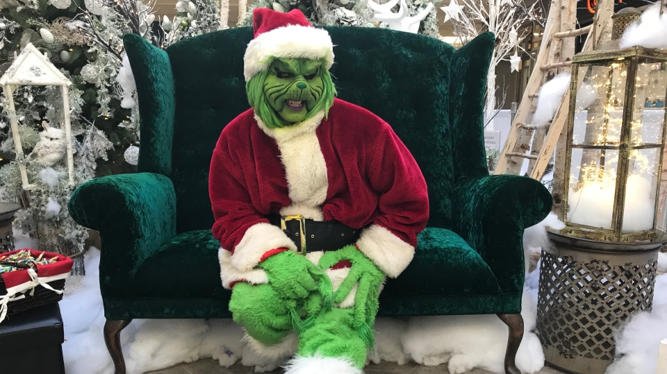 The Grinch takes a break from photos at Victoria Square Shopping Centre (Katherine Hill / CTV Regina)
