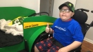 The centrepiece of the room is an exclusive John Deere tractor bed for Huntre Allard in Windsor, Ont., on Tuesday, Dec. 11, 2018. (Bob Bellacicco / CTV Windsor)