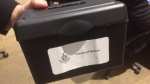 Ballot Box contains the votes after councillors voted for the new Warden of Simcoe County on Tuesday December 11, 2018 (Aileen Doyle/CTV Barrie)