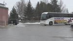 "One of two buses rolls up as part of ""104.1 The Dock"" and ""KICX 106"" 'Feeding the Families' bus tour kicks off in Barrie on Tuesday December 11, 2018 (Rob Cooper/CTV Barrie)"