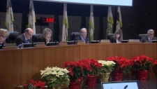 Surrey Mayor Doug McCallum and city councillors are seen in council changes on Dec. 11, 2018.