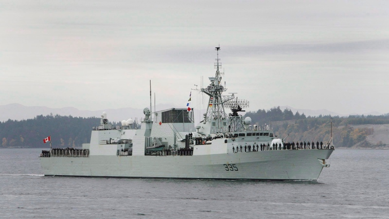 HMCS Calgary and a CH-148 Cyclone helicopter will be visible from several spots along the Victoria-area waterfront Friday. THE CANADIAN PRESS/ Deddeda Stemler