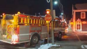 Fire crews respond to a gas leak at Cuts Meat Market in Wolfville, N.S. on Dec. 11, 2018. (Stephen Wilsack/YouTube)