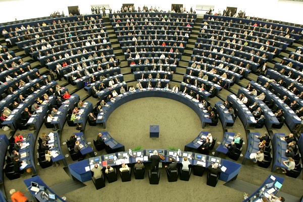 The plenary room of the European Parliament in Strasbourg, eastern France, is seen on Tuesday, July 14, 2009. (AP / Lionel Cironneau)
