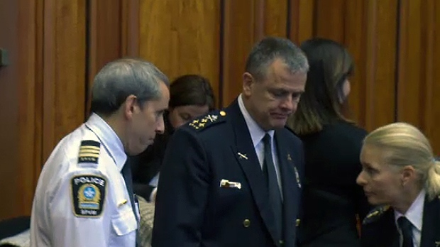 Montreal police chief Sylvain Caron, Chief Inspector Josée Blais, and Inspector André Durocher in Montreal City Hall on Dec. 11, 2018