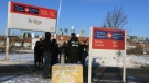 Montreal police observed a protest by the SITT-IWW outside a Canada Post depot in Point St. Charles on Wednesday Dec. 12, 2018 (CTVNews Montreal/JL Boulch)