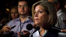Ontario NDP Leader Andrea Horwath speaks with media in the Ontario Legislative Assembly at Queen's Park, in Toronto on Wednesday, July 11, 2018. THE CANADIAN PRESS/Christopher Katsarov