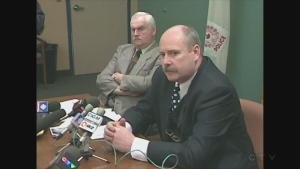 Footage from Sudbury Regional Police's first news conference after Renee Sweeney's murder in 1998.