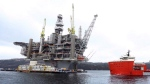 The Hebron Platform, anchored in Trinity Bay, N.L., is shown on Tuesday, April 18, 2017. Cash-strapped Newfoundland and Labrador has announced a 12-year plan to speed and enhance development of its offshore oil and gas resources. THE CANADIAN PRESS/Paul Daly