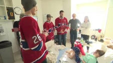 The Montreal Canadiens visit young patients at Sainte-Justine Hospital.