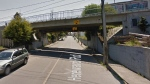An overpass bridge in the 800-block of Hereward Road in Vic West is shown in this undated Google Maps photo.