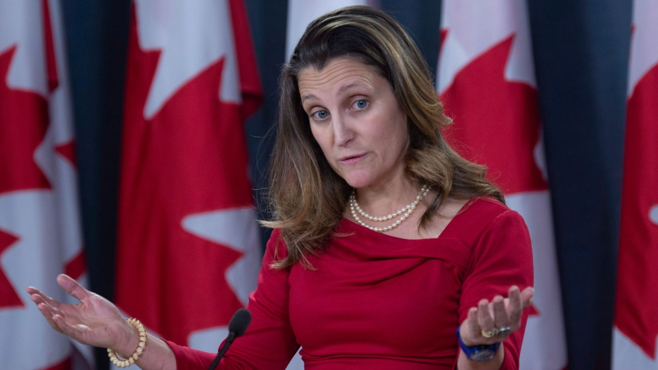 Minister of Foreign Affairs Chrystia Freeland speaks with the media during a news conference in Ottawa, Wednesday December 12, 2018. THE CANADIAN PRESS/Adrian Wyld