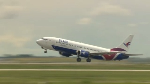A Flair Airlines plane is seen in this undated file photo.