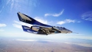 This May 29, 2018 photo provided by Virgin Galactic shows the VSS Unity craft during a supersonic flight test. The spaceship isn't launched from the ground but is carried beneath a special aircraft to an altitude around 50,000 feet (15,240 meters). There, it's released before igniting its rocket engine and climbing. (Virgin Galactic via AP)