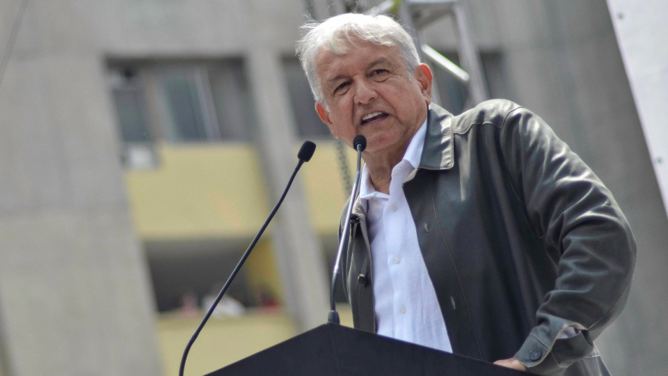 In this Sept. 29, 2018 file photo, Mexico's President Andres Manuel Lopez Obrador speaks at a rally at the Tlatelolco Plaza in Mexico City. (AP Photo/Christian Palma, File)