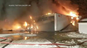 Massive fire causing millions of dollars in damages (Source: Twitter.com/OPP_WR)