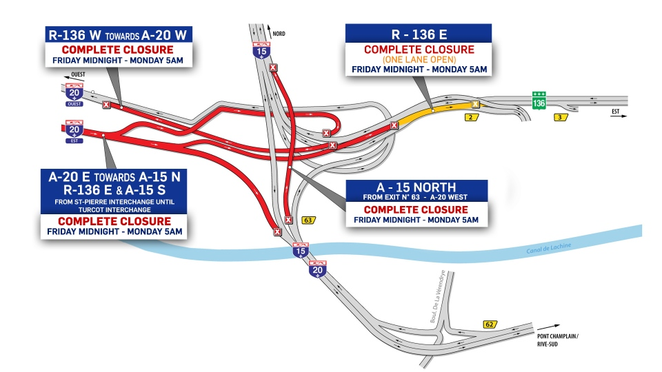 Turcot closures for the weekend of Dec. 14, 2018