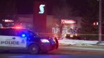 Two guards suffered injuries following an overnight bank robbery and explosion in Edmonton, Thursday, Dec. 13, 2018.