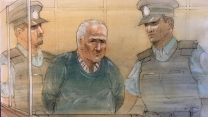 Alleged serial killer Bruce McArthur is shown in this court sketch, Thursday, Dec. 13, 2018.