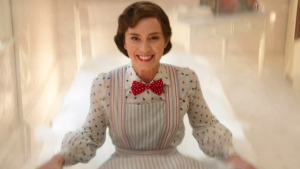 """This image released by Disney shows Emily Blunt as Mary Poppins in """"Mary Poppins Returns."""" (Disney via AP)"""