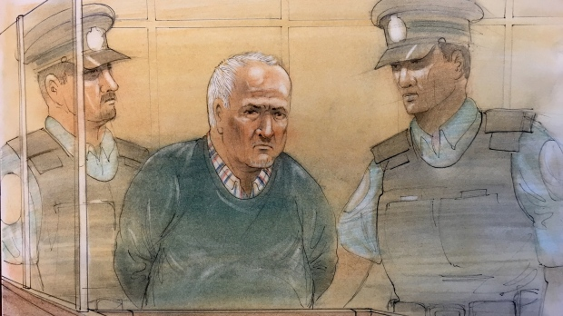 Accused serial killer Bruce McArthur appears in court on Dec. 13, 2018. (Sketch by John Mantha)