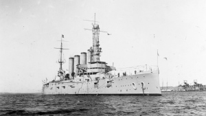 This Jan. 28, 1915 image made available by the U.S. Naval History and Heritage Command shows the USS San Diego while serving as flagship of the Pacific Fleet. (U.S. Naval History and Heritage Command via AP)