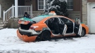 A badly damaged Beck Taxi sits on the lawn of a home in North York. The crash, and the series of events that led up to it, is under investigation by the SIU. (Peter Muscat/CTV News Toronto)