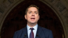Leader of the Opposition Andrew Scheer holds an end of session news conference in the Foyer of the House of Commons in Ottawa, Thursday December 13, 2018. THE CANADIAN PRESS/Adrian Wyld