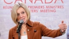 Alberta Premier Rachel Notley speaks to the media at the First Ministers conference, Friday, December 7, 2018 in Montreal.THE CANADIAN PRESS/Ryan Remiorz
