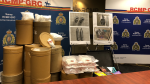 The execution of a search warrant at a Surrey storage facility resulted in the seizure of 60,000 doses of meth and 227 kilograms of a painkiller used to cut cocaine, the RCMP says. (Michele Brunoro / CTV Vancouver)