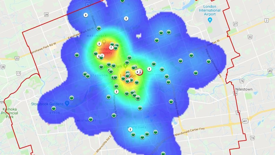 This map provided by the London Police Service shows bicycle thefts in the city from Oct. 1 to Dec. 13, 2018.