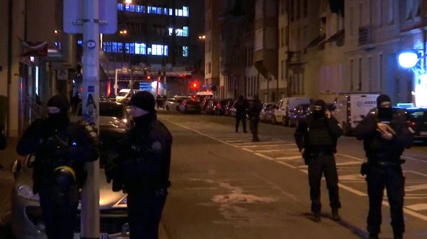 Heavy police presence in Strasbourg, France after a Christmas market shooting suspect was killed by police, Thursday, Dec. 13, 2018.