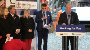 B.C. Premier John Horgan announces an $8-million investment into housing for Indigenous families in Langford Thurs., Dec. 13, 2018. (CTV Vancouver Island)