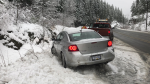 Vehicles are seen along the Sea to Sky Highway between Garibaldi and Whistler on Thursday, Dec. 13, 2018. (Emad Agahi / CTV Vancouver)