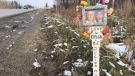 A memorial for two teens killed in a crash on Wellington Road is seen in London,Ont. on Thursday, Dec. 13, 2018. (Adrienne South / CTV London)