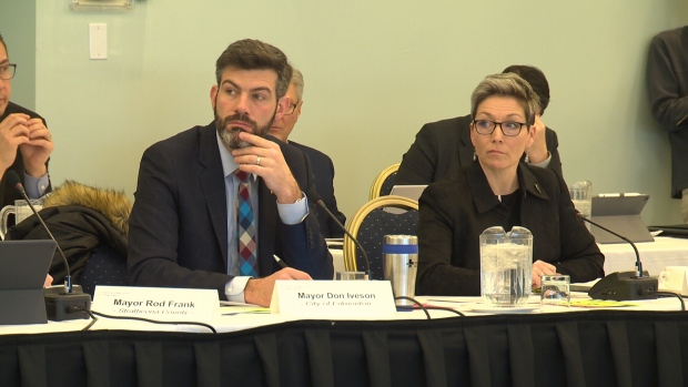 The mayors of the Edmonton Metropolitan Region Board gathered Thursday, a week after Edmonton Mayor Don Iveson said surrounding communities should be chipping in more for the Edmonton amenities they use.