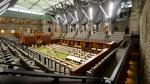 The new temporary House of Commons is viewed prior to a ceremonial handover marking the completion of the historic restoration and modernization of the West Block and the new visitor welcome centre on Parliament Hill Ottawa on Thursday, Nov. 8, 2018. THE CANADIAN PRESS/Sean Kilpatrick