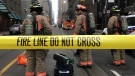 Firefighters stand by their equipment after a bomb threat evacuated the King Street subway station in downtown Toronto, Thursday, Dec. 13, 2018. THE CANADIAN PRESS/Graeme Roy