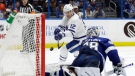 Tampa Bay Lightning goaltender Andrei Vasilevskiy (88) robs Toronto Maple Leafs center Patrick Marleau (12) on a shot during the third period of an NHL hockey game Thursday, Dec. 13, 2018, in Tampa, Fla. (AP Photo/Chris O'Meara)