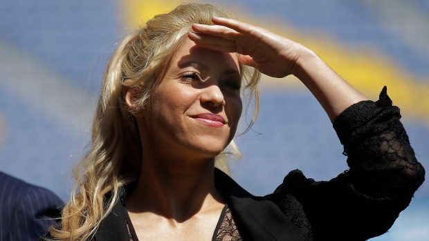 In this March 28, 2017 file photo, Colombian singer Shakira looks on during a charity event at the Camp Nou stadium in Barcelona, Spain. (AP Photo/Manu Fernandez, File)