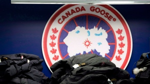 Canada Goose jackets are piled up at the Canada Goose factory in Toronto on April 2, 2015. THE CANADIAN PRESS/Nathan Denette