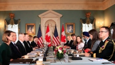 Secretary of State Mike Pompeo, fourth from left, and Defense Secretary Jim Mattis, third from left, meet their Canadian counterparts Canadian Minister of Foreign Affairs Chrystia Freeland, forth from right, and Canadian Minister of Defense Harjit Sajjan, third from right, during the U.S.-Canada 2+2 Ministerial at the State Department in Washington, Friday, Dec. 14, 2018.