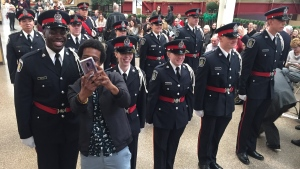 10 new recruits accepted their badges on Friday. (Dan Lauckner / CTV Kitchener)