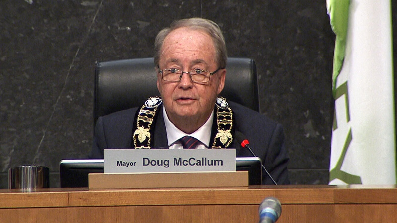 Doug McCallum speaks after being sworn in as mayor of Surrey.