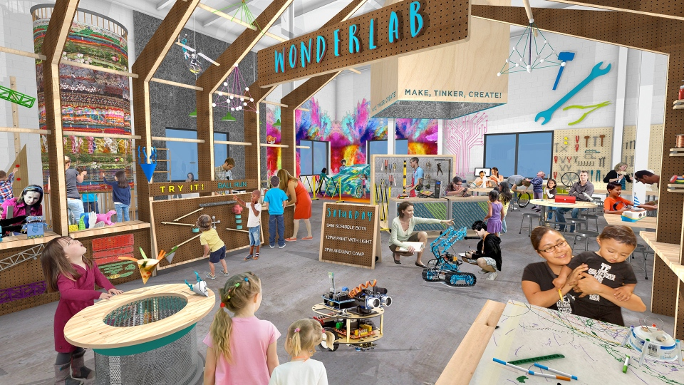 Conceptual drawings show the design for the Children's Museum's new location in the former Kellogg's plant. (Source: Gyroscope Inc.)